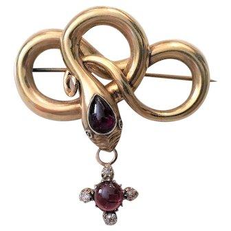 Victorian 18k Gold Garnet & Diamond Snake Memory Brooch