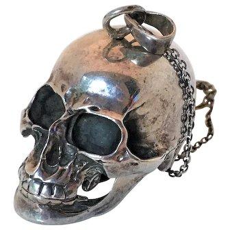 Vintage Sterling Silver Skull Pendant Box