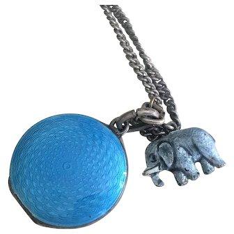 Guilloche  & Sterling Locket with Bonus Enamel Elephant Charm Germany