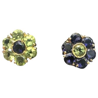 18k Gold, Gemstone Flower Shaped Earrings, circa 1970's