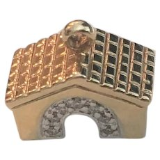 Adorable 14k Gold & Diamond Dog House Charm