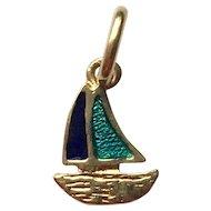 18k Gold & Enamel Sailboat Charm Italy