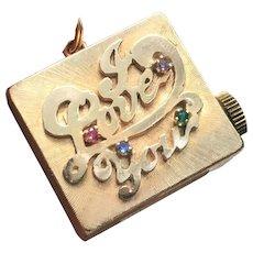 "14k Gold ""I Love You"" Music Box Charm Circa 1950's"