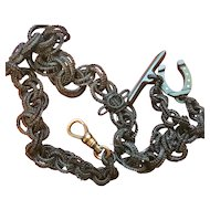Rare Victorian Hair Watch Chain with Horseshoe Fob