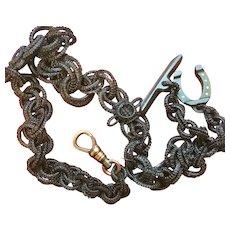 Rare Elephant Hair Watch Chain with Horseshoe Fob