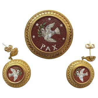 "Antique Demi-Parure 18k Gold Micro Mosaic  Earrings and Brooch ""PAX"" PEACE!"