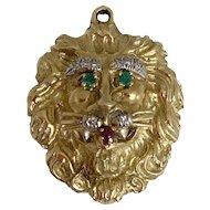 Hammerman (Bros) Brothers Emerald Ruby Diamond Gold Lion Pendant
