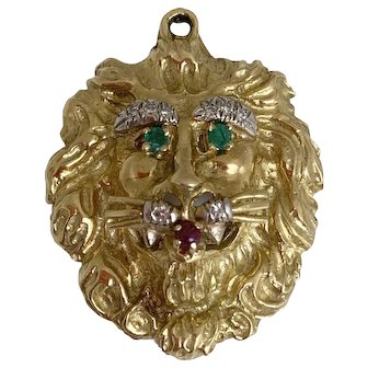 Hammerman (Bros) Brothers Emerald Ruby Diamond Gold Lion Pendant