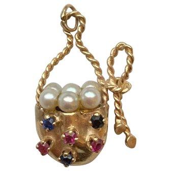 Beautiful Vintage 14k Gold Basket Charm w/ Pearls