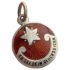 "German Silver Lucky Star Charm ""Er Sei Dein Gluckstern"""