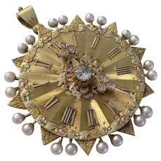 Beautiful 14k Gold Antique Clock Pendant Diamonds Pearls
