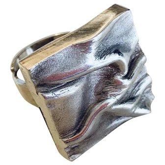 Scandinavian Modern Silver Ring  Designed by Matti J. Hyvarinen, 1970's, Finland