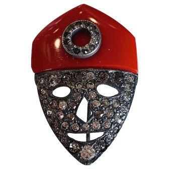 Vintage Figural Masked Face Costume Brooch Pin