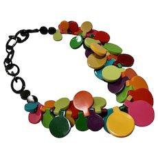 Funky French Designer Resin Necklace Adjustable Choker-Long