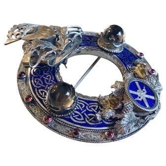 Grand 19th C. Scottish Silver Enameled Brooch