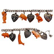 Fantastic Vintage Sterling Puffy Heart  and Coral Charm Bracelet
