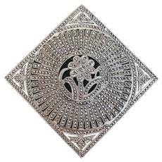 Exceptional Sterling Silver & Marcasite Art Deco Brooch