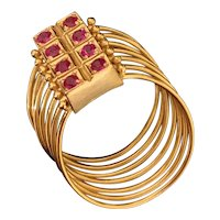 Gorgeous 18k Gold Vintage Multiple Band Ring with Natural Rubies