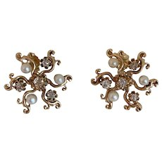 Diamond and Pearl 14k Gold Earrings