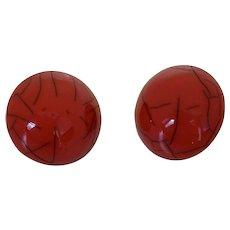 French Designer Resin Button Earrings