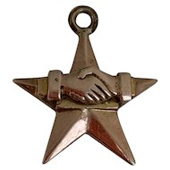Victorian Gold Star Charm with Clasped Hands of Friendship