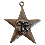 Rare Victorian Sterling Star  Charm With Man in The Moon Face