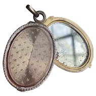 French Antique Silver Slide Mirror Locket