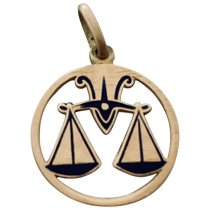 Enamel Libra Zodiac Charm or Pendant Libra Scales of Justice Charm Green and Yellow Enamel on Gold Tone