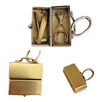 Rare! Vintage 14k Gold Charm of Tool Box