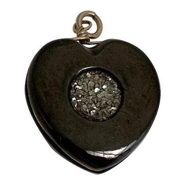 Victorian Polished Jet & Druzy Hematite Heart Charm