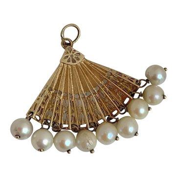 Elegant 14k Gold Cultured Pearl Fan Charm, Circa 1940's