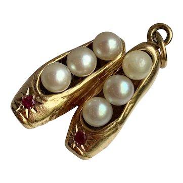 Retro 14k Gold Pearl & Ruby Ballet Slipper Charm, Circa 1940's, 9.7 grams!