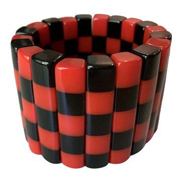 Designer French Resin Stretch Bracelet in Red/Black Checkerboard