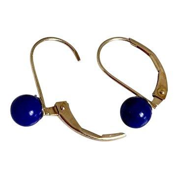 14k Gold & Lapis Bead Earrings