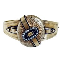 Rare! Victorian 14K Gold Enameled Locket Bracelet