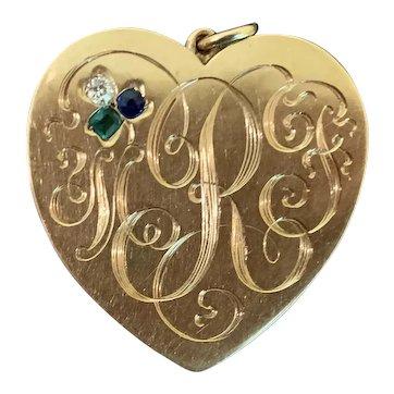 Exquisite 14k Gold Victorian Heart Locket with Gemset Lucky Clover