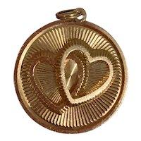 Wonderful 14k Gold Henry Dankner Double Heart Charm, circa, 1960's
