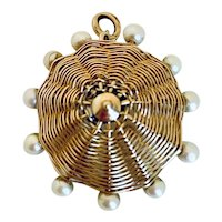 14k Gold & Pearl Umbrella Charm, circa 1940's