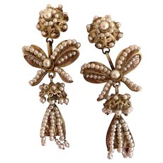 """Silver Vermeil """"New Old Stock"""" Spanish Colonial Pearl Earrings, Circa 1950's"""