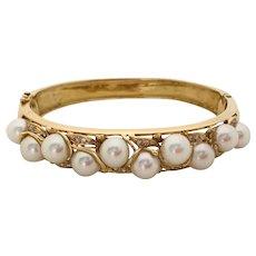 Mid Century Pearl and Diamond Gold Bangle Bracelet