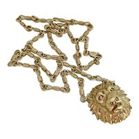 18k Gold Vintage Lion Pendant Necklace with Diamond Eyes