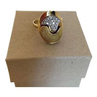 Modernist Puzzle Ring in 18k Gold and Diamonds