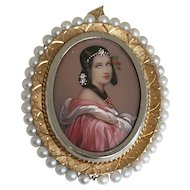 18K Gold Diamond Signed Hand Painted Miniature Portrait Brooch Pendant Italy
