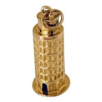 Beautiful 18k Gold Leaning Tower of Pisa Charm