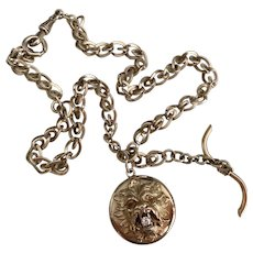 Wonderful 14k Gold Watch Chain w/ Lion Fob Pendant