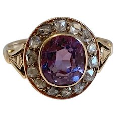 Vintage Russian 14k Gold Ring Rose Cut Diamonds and Synthetic Alexandrite