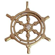 14k Gold Nautical Ships Wheel Charm with Diamond