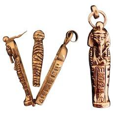 Fabulous Egyptian Sarcophagus and Mummy 14K Gold Charm