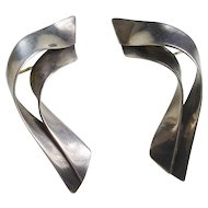 Sterling Silver Modernist Earrings Signed, circa 1980's
