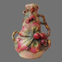 Antique AUSTRIAN AMPHORA VASE - Vines & Berries /  late 19th Century / LARGE